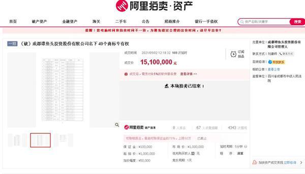 """成都老字号""""谭鱼头""""名下商标拍卖,溢价 15 倍 1510 万成交"""